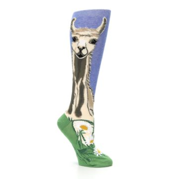 Image of Blue Green Lovely Llama Women's Knee High Socks (side-1-26)