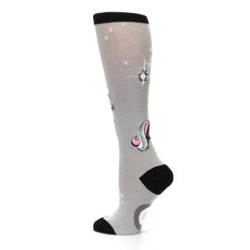 Image of Gray Pink Unicycling Unicorn Women's Knee High Socks (side-2-13)