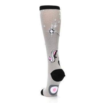 Image of Gray Pink Unicycling Unicorn Women's Knee High Socks (side-2-back-16)