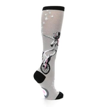 Image of Gray Pink Unicycling Unicorn Women's Knee High Socks (side-1-23)