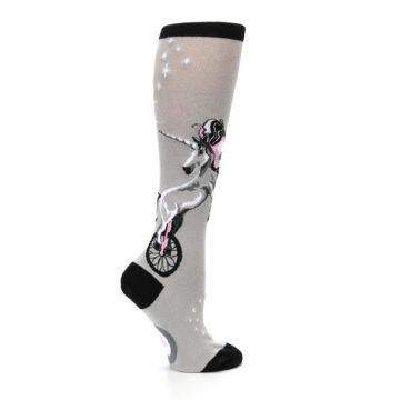 Image of Gray Pink Unicycling Unicorn Women's Knee High Socks (side-1-24)