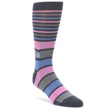Pink Blue Stripe Action Against Hunger Men's Dress Socks