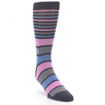 Image of Pink Blue Stripe Action Against Hunger Men's Dress Socks (side-1-front-02)