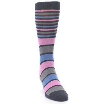 Image of Pink Blue Stripe Action Against Hunger Men's Dress Socks (side-1-front-03)