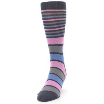 Image of Pink Blue Stripe Action Against Hunger Men's Dress Socks (side-2-front-06)
