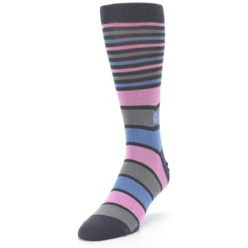 Image of Pink Blue Stripe Action Against Hunger Men's Dress Socks (side-2-front-07)