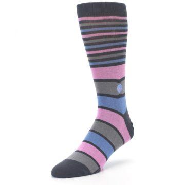 Image of Pink Blue Stripe Action Against Hunger Men's Dress Socks (side-2-front-08)