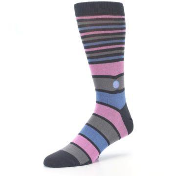 Image of Pink Blue Stripe Action Against Hunger Men's Dress Socks (side-2-09)