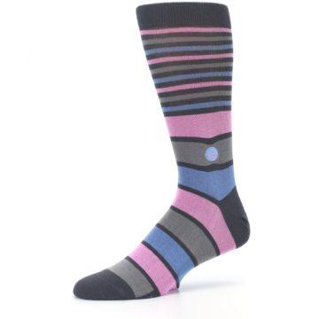 Image of Pink Blue Stripe Action Against Hunger Men's Dress Socks (side-2-10)