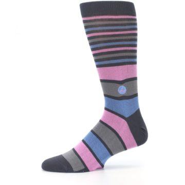 Image of Pink Blue Stripe Action Against Hunger Men's Dress Socks (side-2-11)