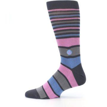 Image of Pink Blue Stripe Action Against Hunger Men's Dress Socks (side-2-12)