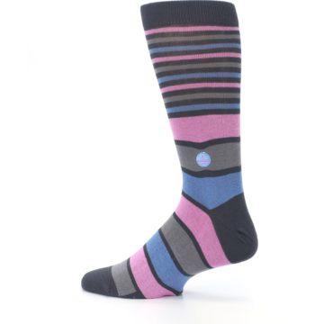 Image of Pink Blue Stripe Action Against Hunger Men's Dress Socks (side-2-13)