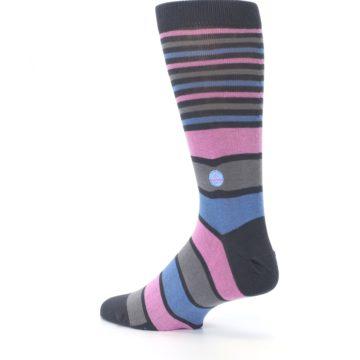 Image of Pink Blue Stripe Action Against Hunger Men's Dress Socks (side-2-back-14)