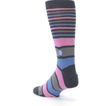 Image of Pink Blue Stripe Action Against Hunger Men's Dress Socks (side-2-back-15)