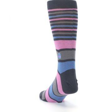 Image of Pink Blue Stripe Action Against Hunger Men's Dress Socks (side-2-back-16)