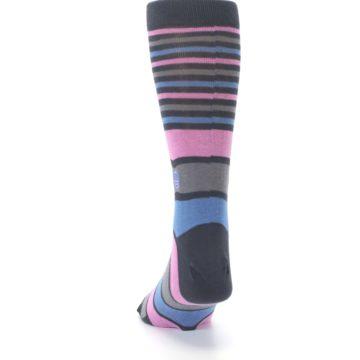 Image of Pink Blue Stripe Action Against Hunger Men's Dress Socks (back-17)