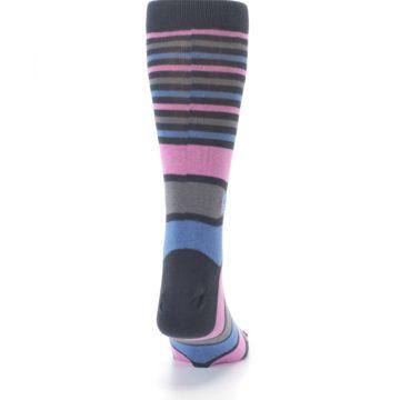 Image of Pink Blue Stripe Action Against Hunger Men's Dress Socks (back-19)
