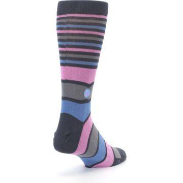 Image of Pink Blue Stripe Action Against Hunger Men's Dress Socks (side-1-back-21)