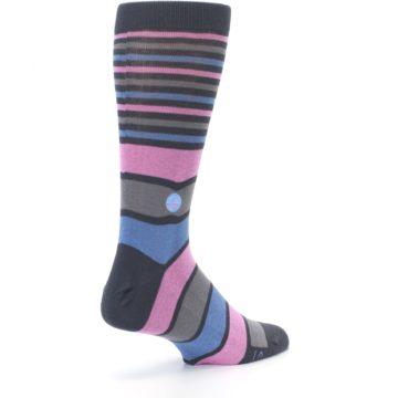 Image of Pink Blue Stripe Action Against Hunger Men's Dress Socks (side-1-back-22)