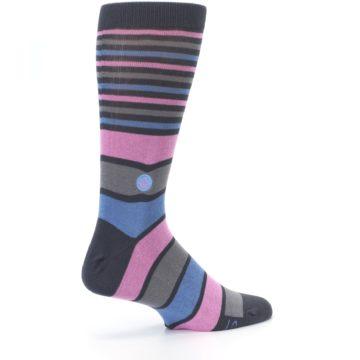 Image of Pink Blue Stripe Action Against Hunger Men's Dress Socks (side-1-23)