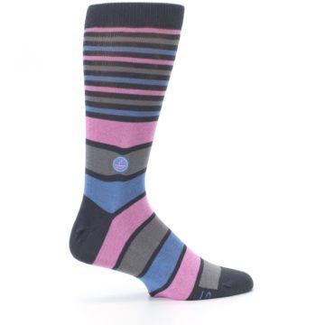 Image of Pink Blue Stripe Action Against Hunger Men's Dress Socks (side-1-24)