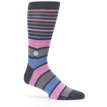 Image of Pink Blue Stripe Action Against Hunger Men's Dress Socks (side-1-25)