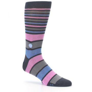 Image of Pink Blue Stripe Action Against Hunger Men's Dress Socks (side-1-26)