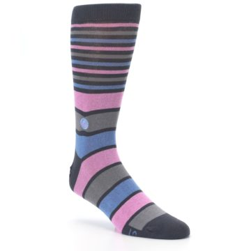 Image of Pink Blue Stripe Action Against Hunger Men's Dress Socks (side-1-27)