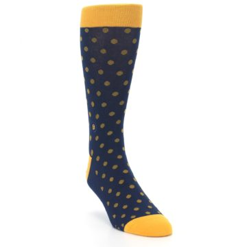 Image of Blue Yellow Dots Donates Books Men's Dress Socks (side-1-front-02)