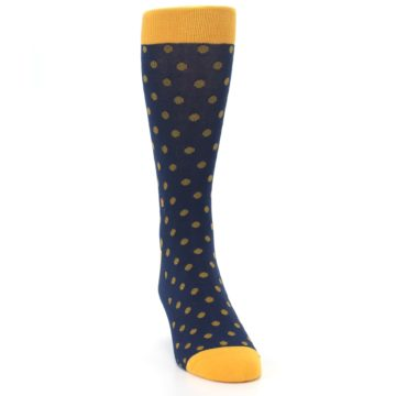 Image of Blue Yellow Dots Donates Books Men's Dress Socks (side-1-front-03)
