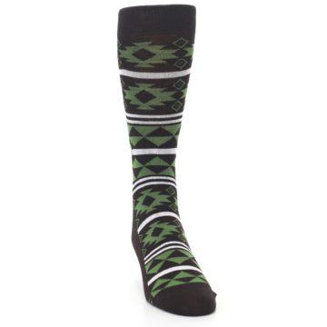 Image of Brown Green Plants Trees Men's Dress Socks (side-1-front-03)