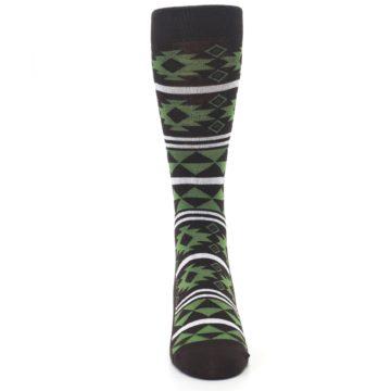 Image of Brown Green Plants Trees Men's Dress Socks (front-04)
