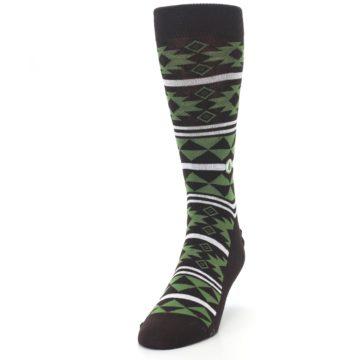 Image of Brown Green Plants Trees Men's Dress Socks (side-2-front-06)