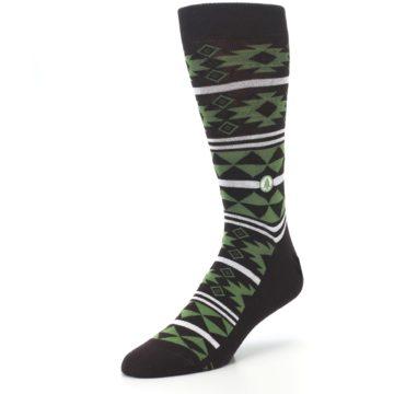 Image of Brown Green Plants Trees Men's Dress Socks (side-2-front-08)