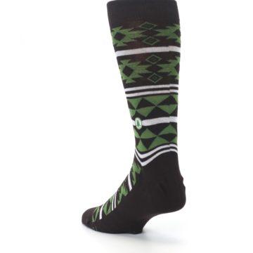 Image of Brown Green Plants Trees Men's Dress Socks (side-2-back-15)