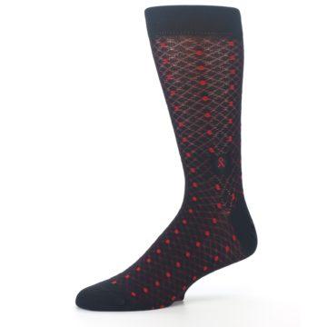 Image of Black Red Dots Fights HIV Men's Dress Socks (side-2-10)