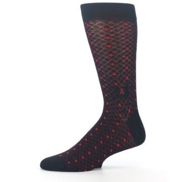 Image of Black Red Dots Fights HIV Men's Dress Socks (side-2-11)
