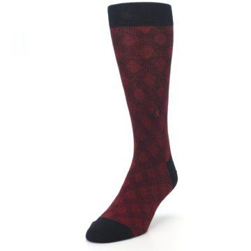 Image of Black Red Crosshatch Fights HIV Men's Dress Socks (side-2-front-07)
