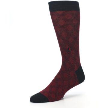 Image of Black Red Crosshatch Fights HIV Men's Dress Socks (side-2-09)