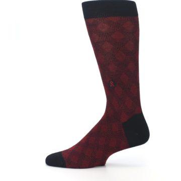 Image of Black Red Crosshatch Fights HIV Men's Dress Socks (side-2-12)