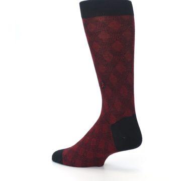 Image of Black Red Crosshatch Fights HIV Men's Dress Socks (side-2-back-14)