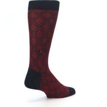 Image of Black Red Crosshatch Fights HIV Men's Dress Socks (side-1-back-22)