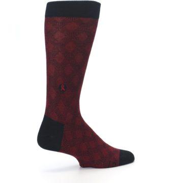 Image of Black Red Crosshatch Fights HIV Men's Dress Socks (side-1-23)