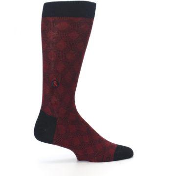 Image of Black Red Crosshatch Fights HIV Men's Dress Socks (side-1-24)
