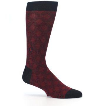 Image of Black Red Crosshatch Fights HIV Men's Dress Socks (side-1-25)