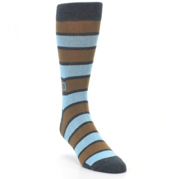 Image of Blue Tan Stripe Gives Water Men's Dress Socks (side-1-front-02)
