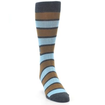 Image of Blue Tan Stripe Gives Water Men's Dress Socks (side-1-front-03)