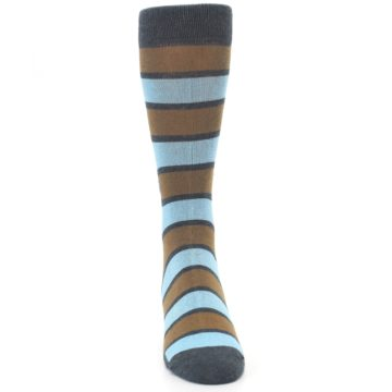 Image of Blue Tan Stripe Gives Water Men's Dress Socks (front-04)
