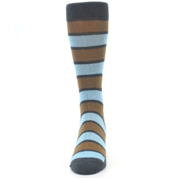 Image of Blue Tan Stripe Gives Water Men's Dress Socks (front-05)