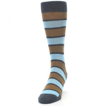 Image of Blue Tan Stripe Gives Water Men's Dress Socks (side-2-front-06)